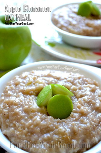 Apple Cinnamon Oatmeal | FoodForYourGood.com #apple_cinnamon_oatmeal
