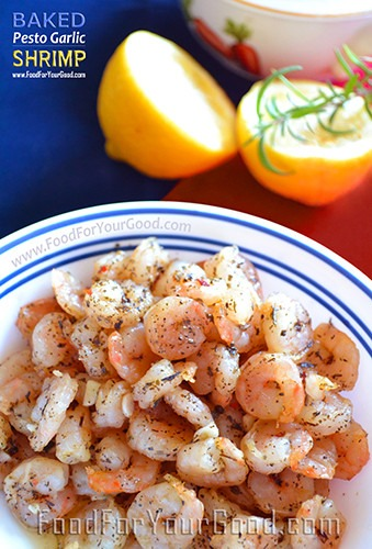 Baked Pesto Shrimp | FoodForYourGood.com #pesto_shrimp