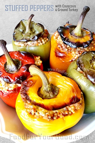 Couscous Ground Turkey Stuffed Peppers