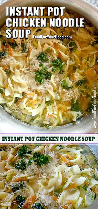 Instant Pot Chicken Noodle Soup Recipe | FoodForYourGood.com #Instant_Pot_Chicken_Noodle_Soup_Recipe